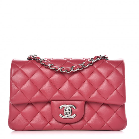 a913ef7f4602 CHANEL Lambskin Quilted Mini Rectangular Flap Dark Pink 363034