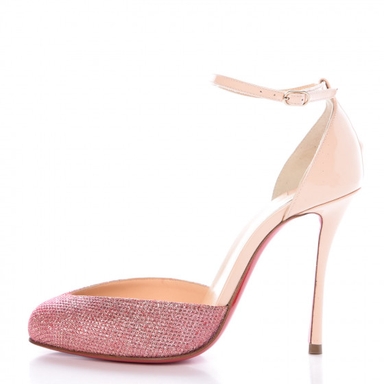 c61ad4b6307 CHRISTIAN LOUBOUTIN Glitter Patent Dollyla 100 Ankle Strap Pumps ...