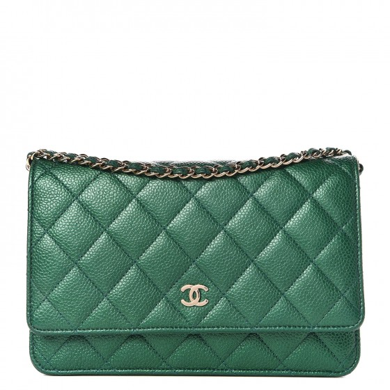 978c5966881b CHANEL Metallic Caviar Quilted Wallet On Chain WOC Green 310717