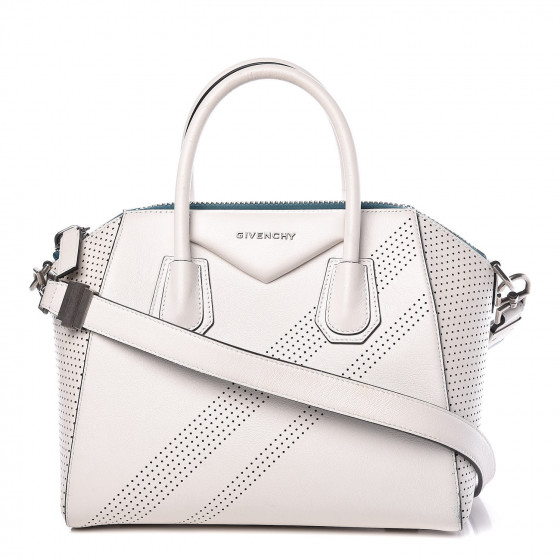 Givenchy Lambskin Small Perforated Antigona White by Givenchy