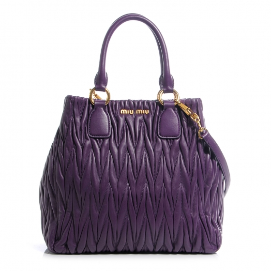 9a0120c001092 MIU MIU Nappa Leather Matelasse Tote Viola Purple 58350