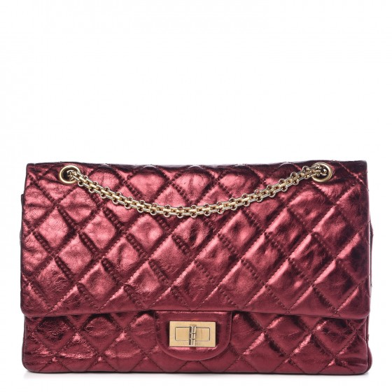 4170300b4db5 CHANEL Metallic Aged Calfskin 2.55 Reissue 227 Flap Dark Red 349186