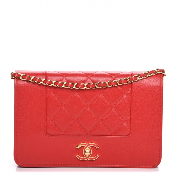 7621a3a7e60c CHANEL Sheepskin Quilted Mademoiselle Vintage Wallet On Chain WOC Red. Empty.  Pinch/Zoom. ‹ › ‹ ›