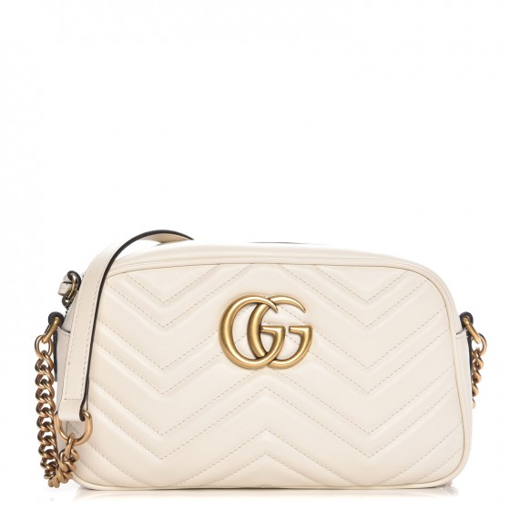 89000c2c664c GUCCI Calfskin Matelasse Small GG Marmont Chain Shoulder Bag White 217902