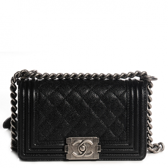a5bbf16585e7d4 CHANEL Caviar Quilted Small Boy Flap Black 76992