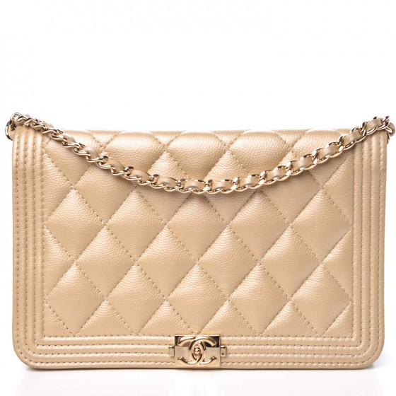 a74732fc4167a5 CHANEL Metallic Caviar Quilted Boy Wallet On Chain WOC Light Gold 305259
