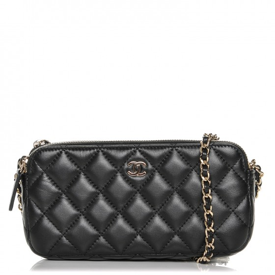 73757783206c CHANEL Lambskin Quilted Small Clutch With Chain Black 187377