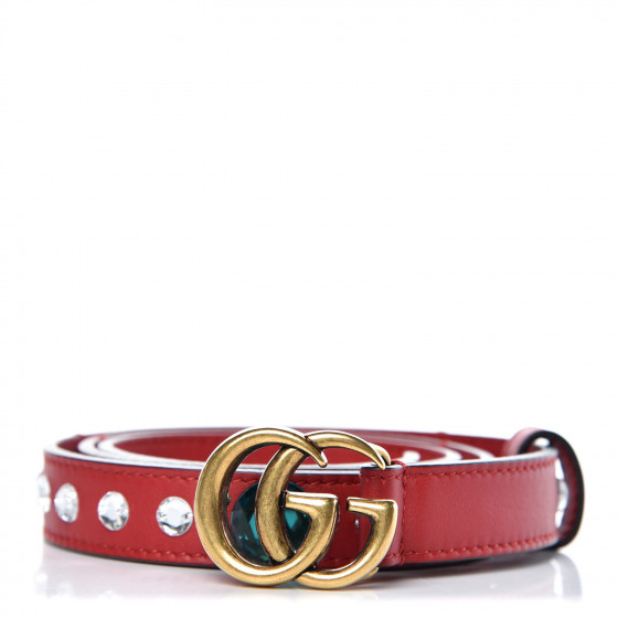 78b41577727 GUCCI Calfskin Crystal Embellished Double G Belt 80 32 Red. Pinch Zoom