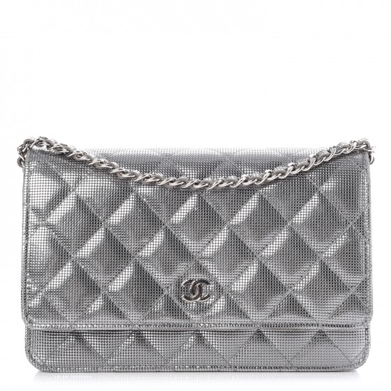 1e43064df9d4 CHANEL Metallic Calfskin Quilted Pixel Effect Wallet on Chain WOC Silver  262945