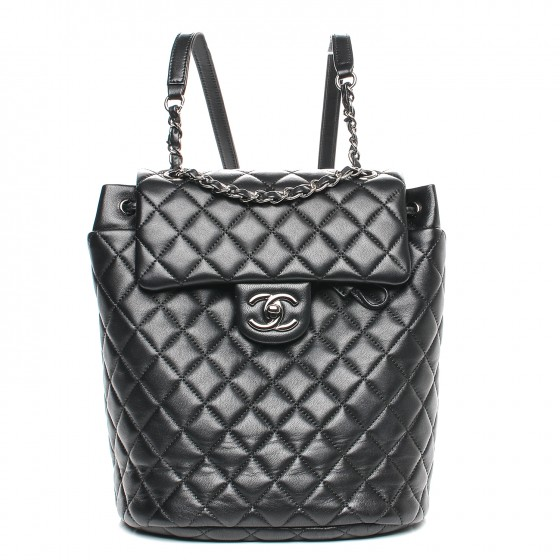 151923e20091 Chanel Lambskin Quilted Small Urban Spirit Backpack Black ...