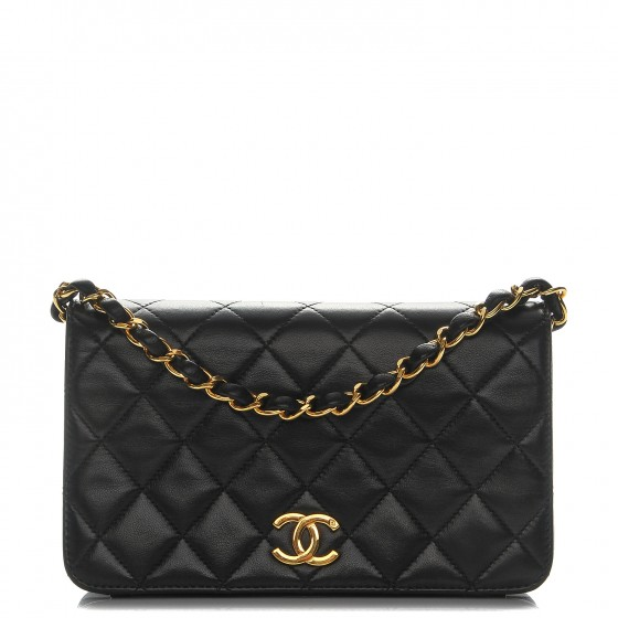 6a1448a26ddf CHANEL Lambskin Quilted Small Single Flap Bag Black 205056