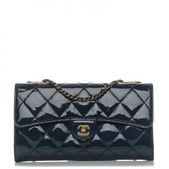 1f5703eedc3e CHANEL Patent Goatskin Quilted Small CC Eyelet Wallet On Chain WOC Blue  205961
