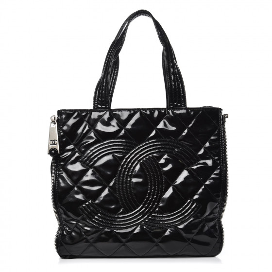 3d944f394731 CHANEL Vinyl Quilted CC Small Expandable Tote Black. Pinch/Zoom. ‹ › ‹ ›