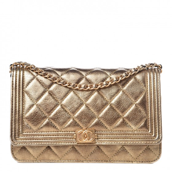ae4a7f341f6740 CHANEL Metallic Calfskin Quilted Boy Wallet On Chain WOC Gold 323093