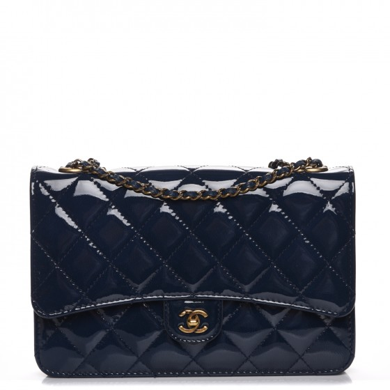 42fff6e0e6f6 CHANEL Patent Goatskin Quilted CC Eyelet Wallet On Chain WOC Blue 217093