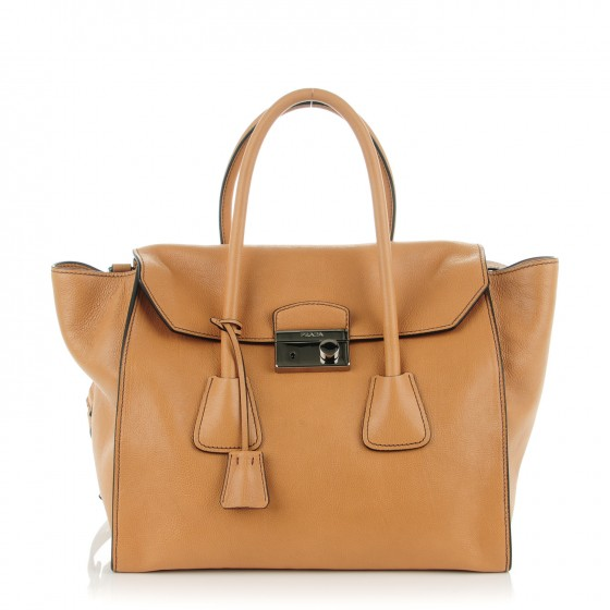 14c1a1993de6 PRADA Glace Calf Twin Pocket Large Tote Naturale. Empty. Pinch Zoom. ‹ › ‹ ›
