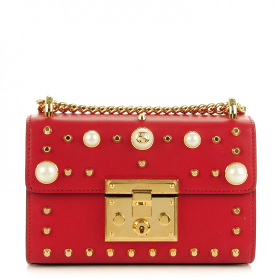 425e5167193f GUCCI Calfskin Small Padlock Studded Shoulder Bag Hibiscus Red 163339