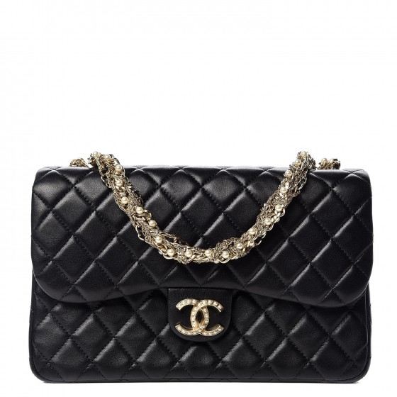 4323774370872c CHANEL Lambskin Quilted Medium Westminster Pearl Flap Black 337310