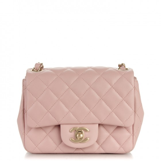 243de707a299 CHANEL Lambskin Quilted Mini Square Flap Light Pink 171558