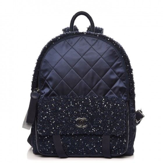 4e867d9728eb CHANEL Tweed Nylon Quilted Astronaut Essentials Backpack Navy 261363