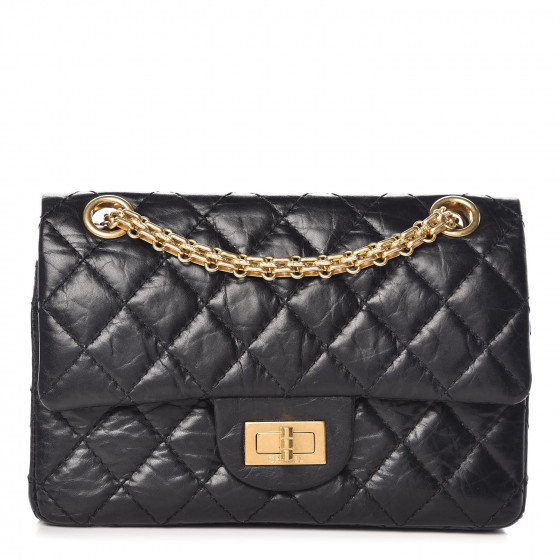 e92cbefaa627 CHANEL Aged Calfskin Quilted 50th Anniversary 2.55 Reissue 224 Flap Black  372996