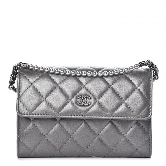 ac9b6d55a82b CHANEL Lambskin Quilted Pearl My Shoulder Mini French Wallet On Chain WOC  Silver 357773