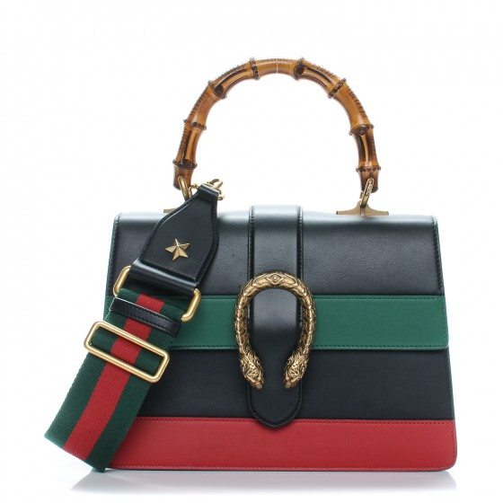 778b47caa3d GUCCI Calfskin Medium Dionysus Top Handle Bag Black Green Red. Empty.  Pinch Zoom. ‹ › ‹ ›