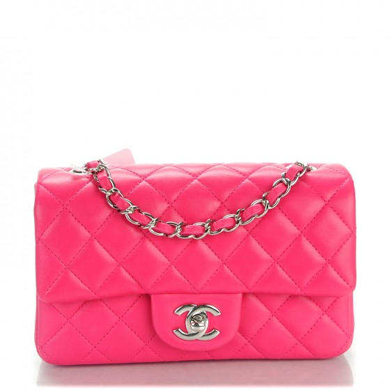 9176ddb53af6 CHANEL Lambskin Quilted Mini Rectangular Flap Dark Pink 143469
