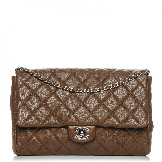 275d0ea450ab0d CHANEL Caviar Quilted Clutch With Chain Flap Brown 193720