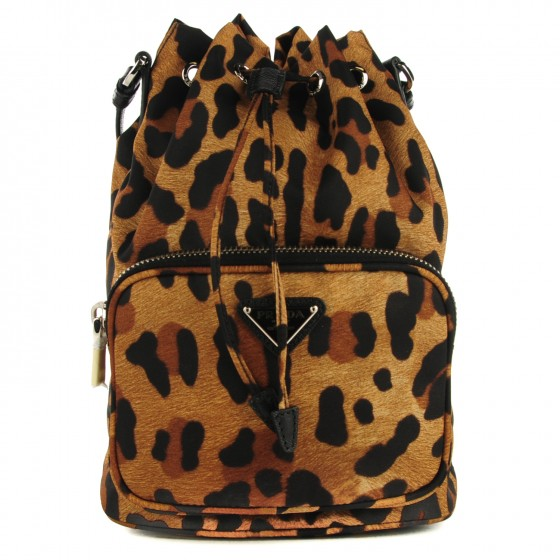 feb506985f1056 PRADA Tessuto Nylon Mini Bucket Bag Leopard 123641