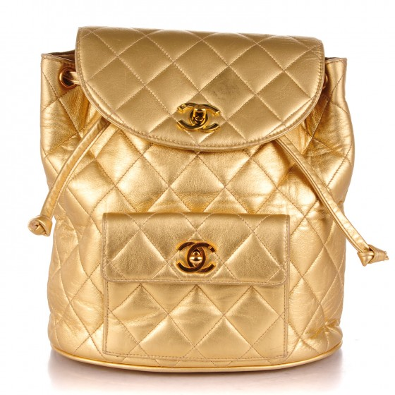 aed731594f22 CHANEL Lambskin Quilted Backpack Gold 172176