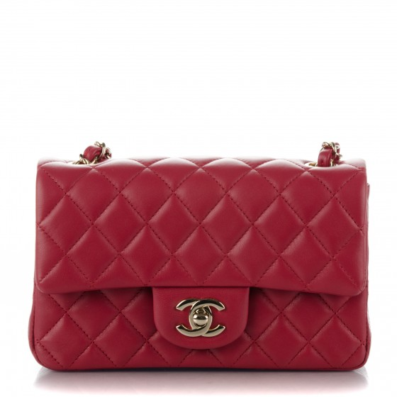 ba25a97a9685 CHANEL Lambskin Quilted Mini Rectangular Flap Dark Pink 176384