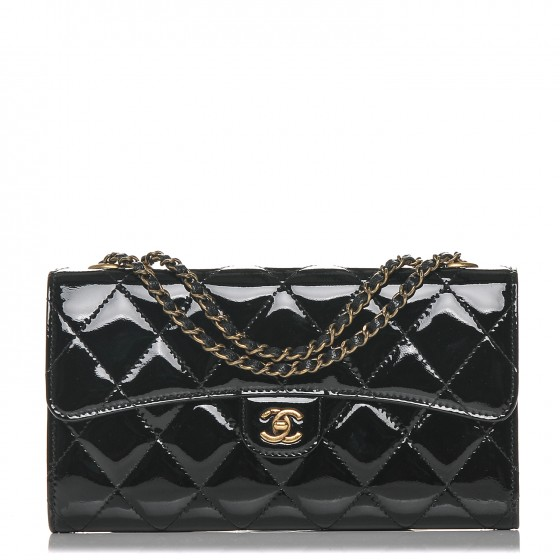 3fcb6f959882 CHANEL Patent Goatskin Quilted Small CC Eyelet Wallet On Chain WOC Black  179164