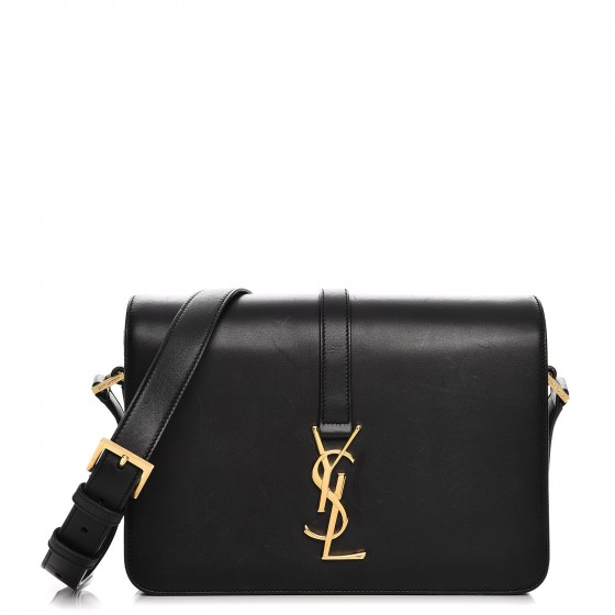 b466043af7f SAINT LAURENT Smooth Calfskin Medium Classic Monogram Universite Bag Black  212289