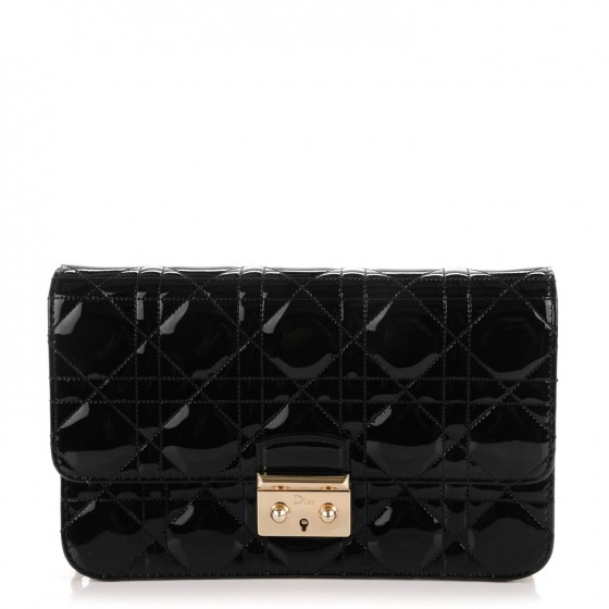4861074e06 CHRISTIAN DIOR Patent Cannage Large Miss Dior Promenade Pouch Black 160171