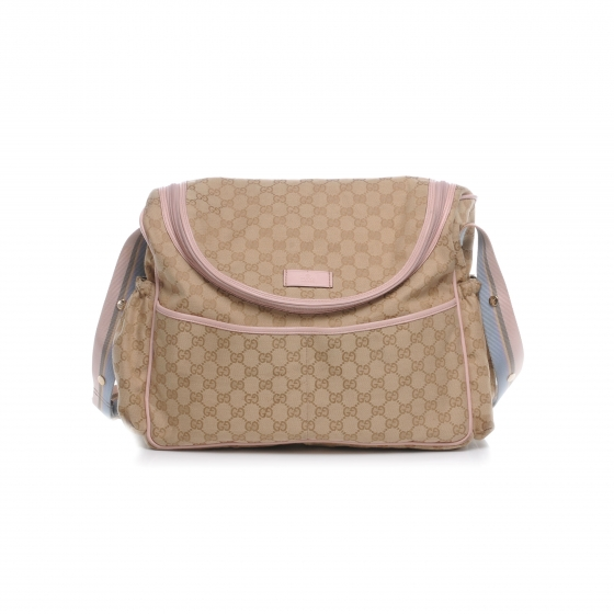 80b904ab74c6 GUCCI Monogram Diaper Bag Pink 44118