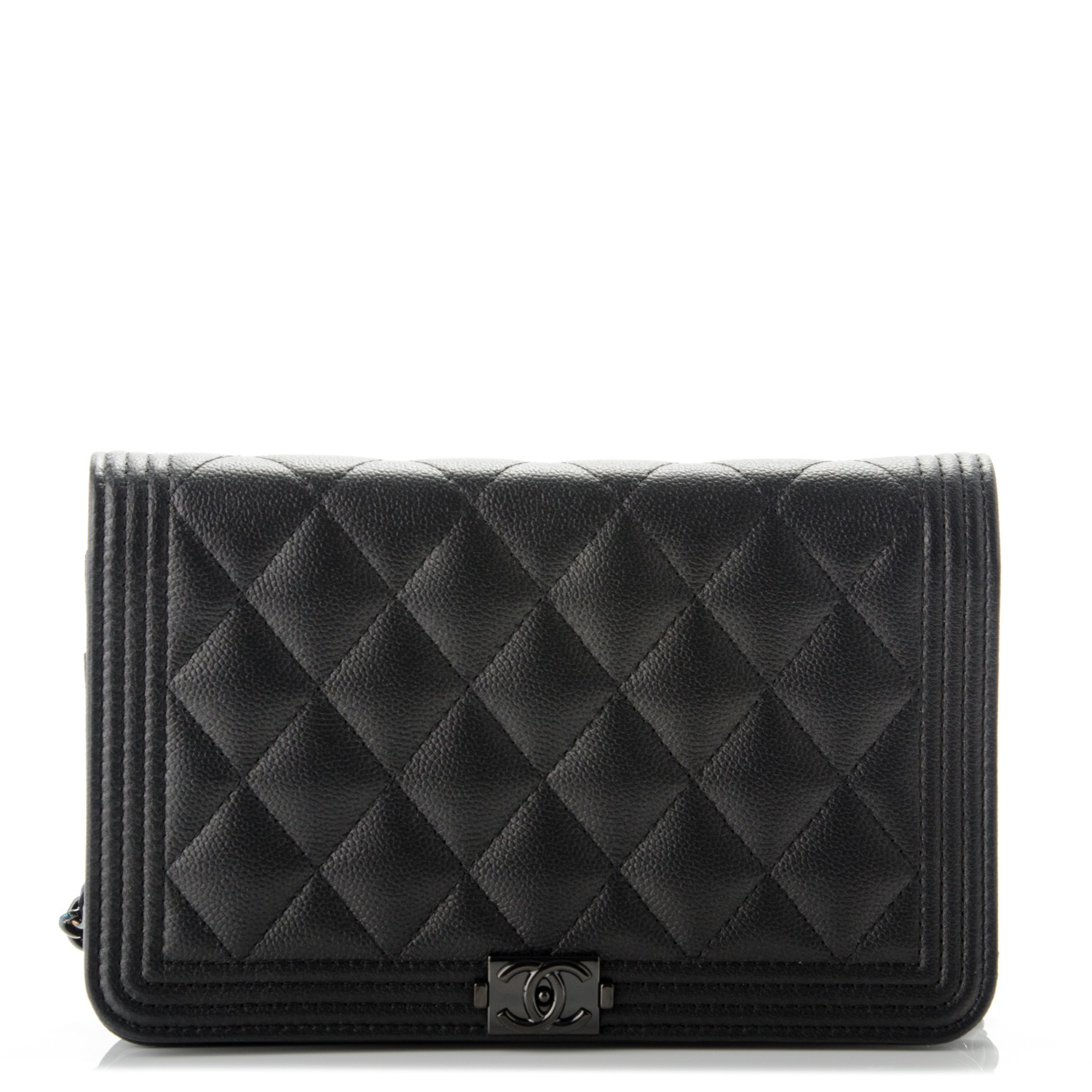 5251d946784f CHANEL Caviar Quilted Boy Wallet On Chain WOC So Black 177699