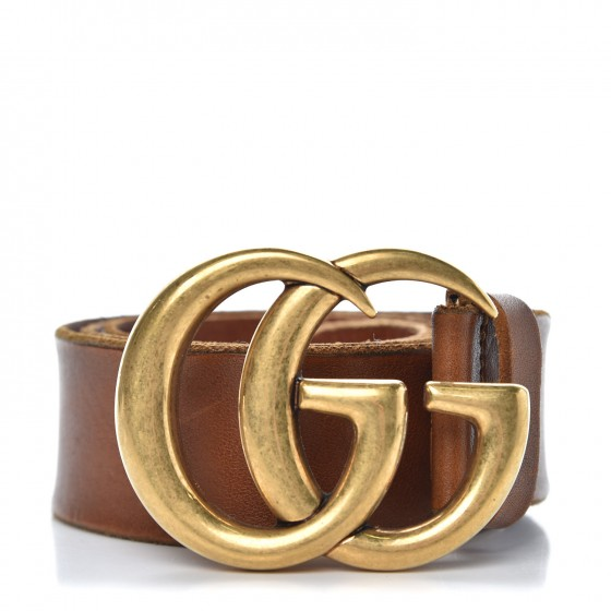 08cdeae73c1 GUCCI Calfskin Double G Marmont Belt 95 38 Brown 347170