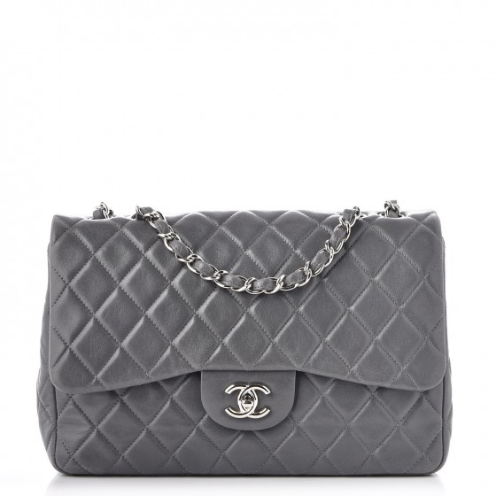 50cc946dac26c7 CHANEL Lambskin Quilted Jumbo Single Flap Grey 229853