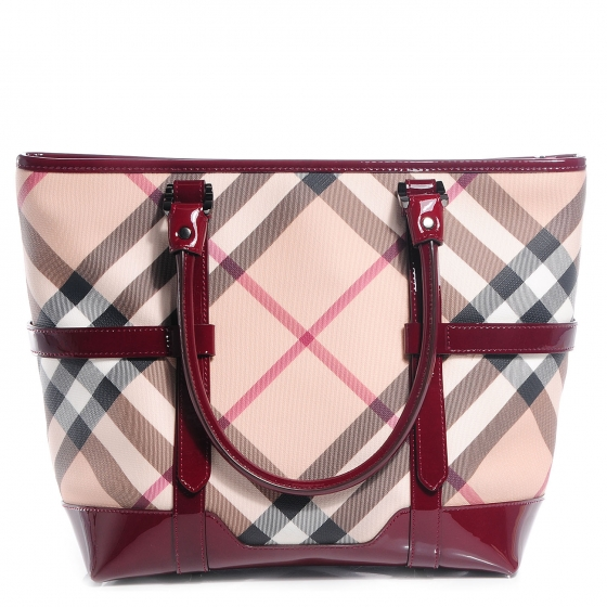4ef946b04063 BURBERRY Patent Supernova Check Medium Tote Burgundy 82208