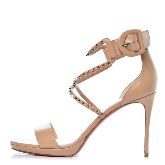 b69aed56974 CHRISTIAN LOUBOUTIN Kid Leather Choca Spike 100 Pumps 38.5 Nude ...