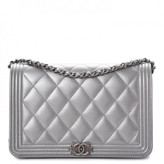 468835034d6e CHANEL Metallic Caviar Quilted Boy Wallet On Chain WOC Silver 248311