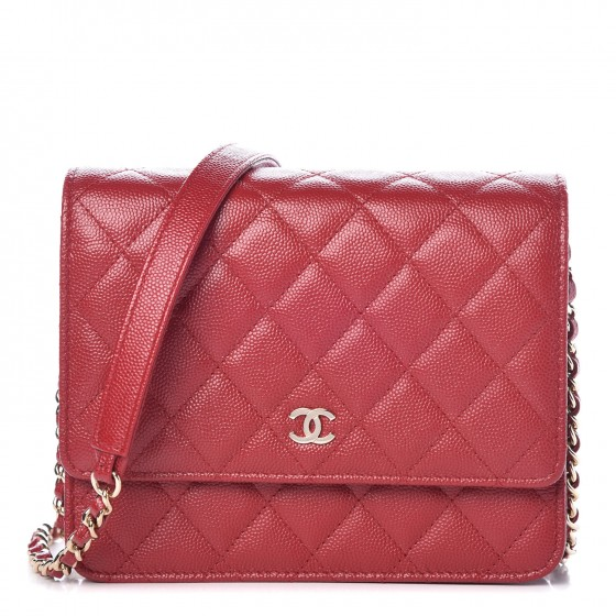de15636cecf7 CHANEL Caviar Quilted Square Wallet On Chain WOC Red 329624