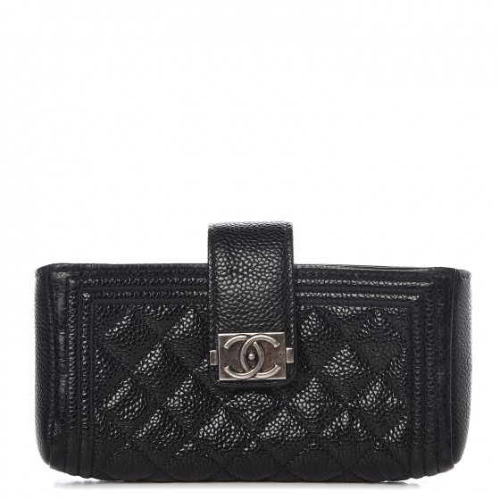 a31c6970b556 CHANEL Caviar Quilted Mini Boy Phone Holder Clutch Black 305928
