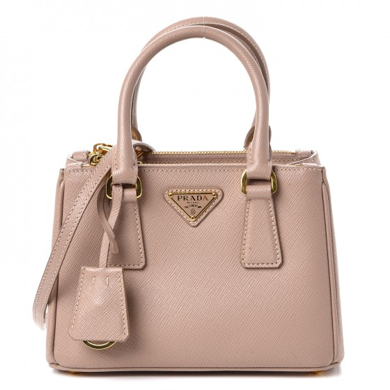 51da458e99ac PRADA Saffiano Nano Galleria Double Zip Crossbody Bag Cammeo 244366