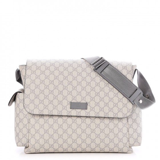 15c58ac85f4e GUCCI GG Plus Monogram Messenger Diaper Bag Grey 244240