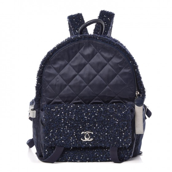 6769451b1dfa CHANEL Tweed Nylon Quilted Astronaut Essentials Backpack Navy 343432