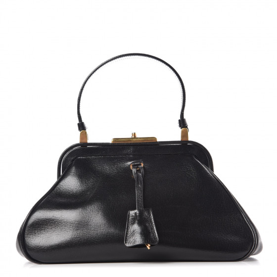 edf9f8320af2 PRADA Goatskin Top Lock Bag Nero Black 359399