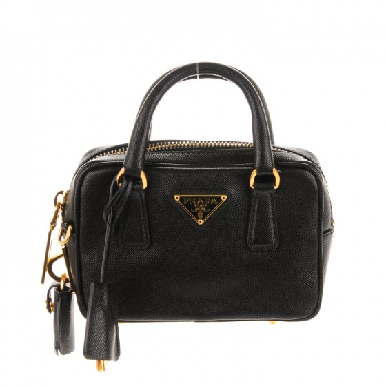 bb08e2059dfab PRADA Saffiano Lux Mini Top Handle Crossbody Bag Nero Black 165647