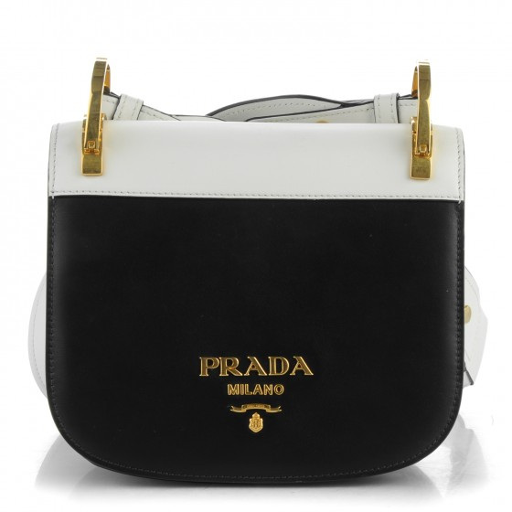 749156bf6d43 PRADA City Calf Pionniere Saddle Bag Nero Black White 165652